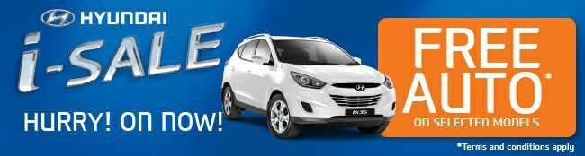 Hyundai i-sale. Free auto on selected models.