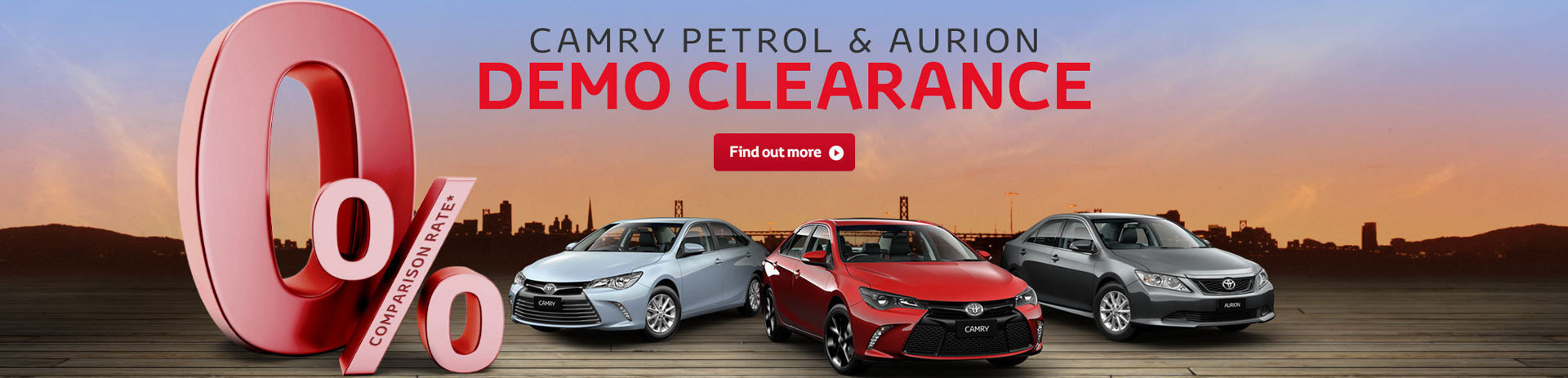 Camry Petrol & Aurion Demo Clearance 0% Comparison Rate
