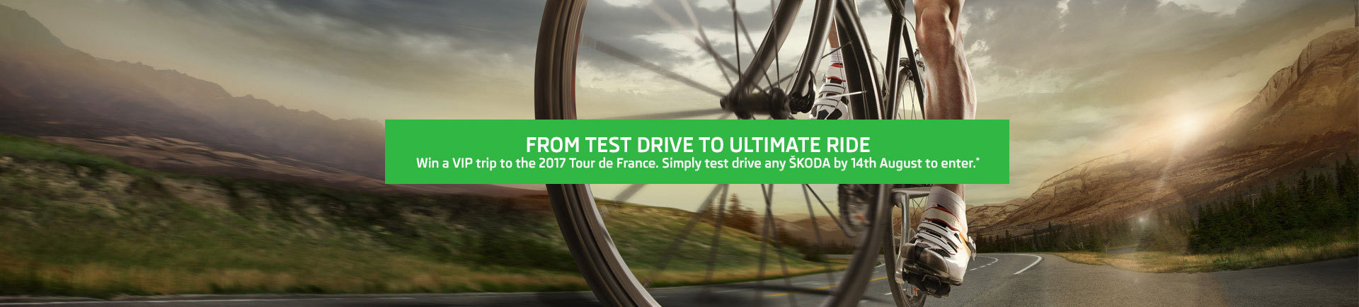 Test drive any Skoda for the chance to win a VIP trip to Tour de France 2017