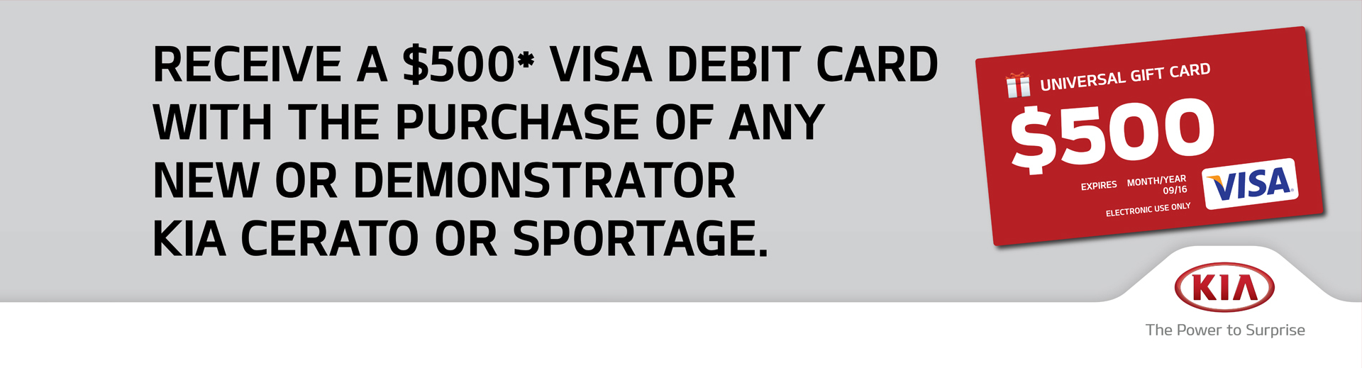 Kia Visa Debit Offer