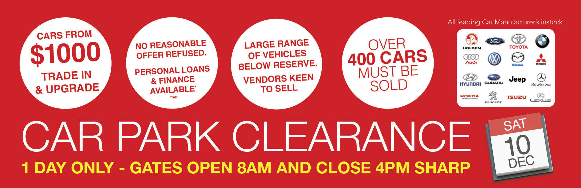 1 DAY ONLY - CAR PARK CLEARANCE - OVER 400 VEHCILES MUST BE SOLD