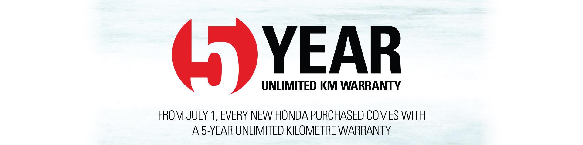 Honda 5 year warranty
