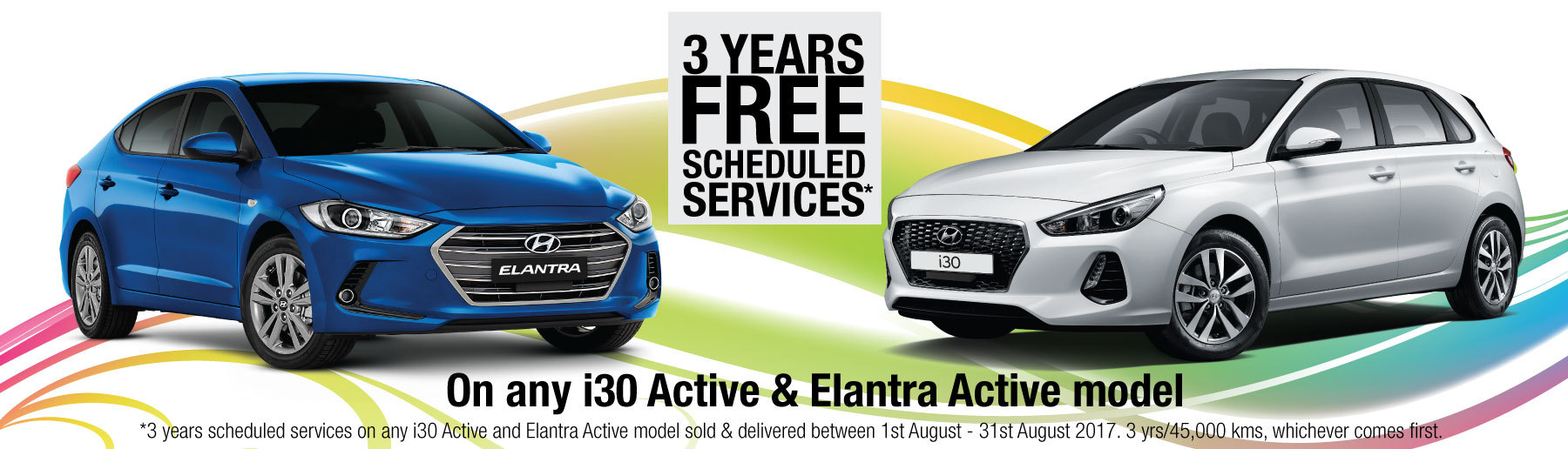 3 Years Free Scheduled Services on Hyundai i30 Active & Elantra Active
