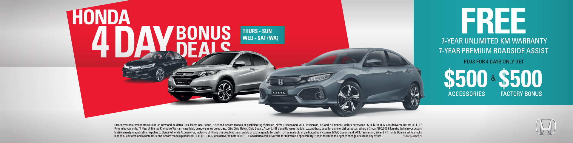 Honda - National Offer - Honda 4 Day Bonus Deals
