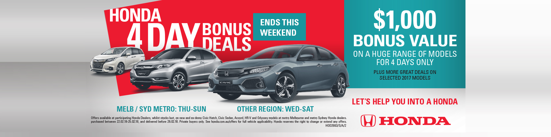 Honda 4 Day Bonus Deals