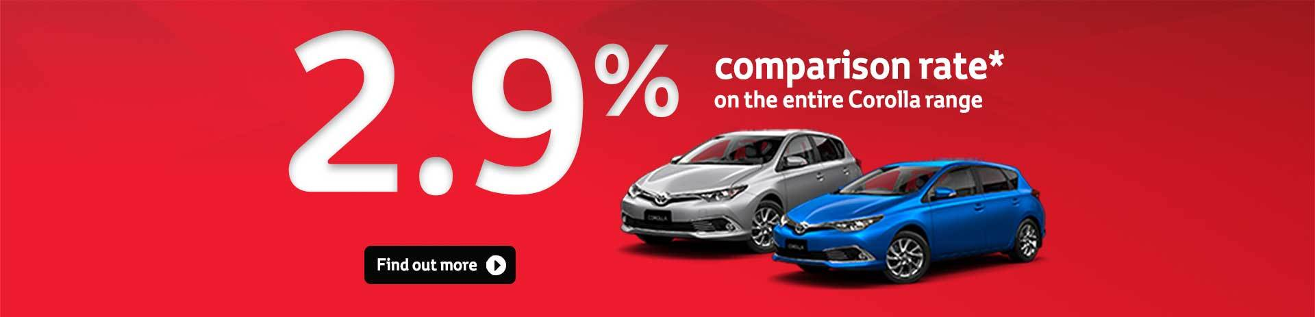 Corolla 2.9% Corolla Comparison Rate*